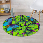 Green And Blue Butterfly Design Round Rug Home Decor