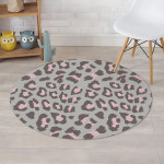 Grey And Pink Leopard Design Round Rug Home Decor