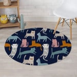 Cute Cat Style Navy Theme Round Rug Home Decor