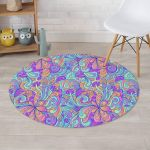 Holographic Floral Psychedelic Design Round Rug Home Decor