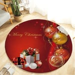 Theme Red Merry Christmas Holiday Illustration Round Rug Home Decor