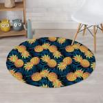 Golden Pineapple Hawaiian Design Round Rug Home Decor
