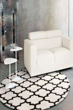 Gold Collection White And Black Round Rug Home Decor