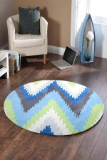 Gold Collection Blue And Green Round Rug Home Decor