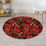 Realistic Red Rose Floral Black Theme Round Rug Home Decor