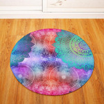 Watercolor Traditional Vintage Geometric Round Rug Home Decor
