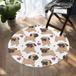 White Pug Puppy Dog Love Colorful Round Rug Home Decor