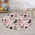 Pink Cute Cat Cartoon Pattern Pink Theme Round Rug Home Decor