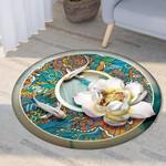 White Lotus And Fish Pattern Modern Round Rug Home Decor