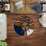 Navy Blue And Rust Woman In Head Round Rug Home Decor