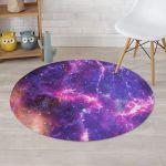 Purple Nebula Galaxy Space Charming Sky Round Rug Home Decor