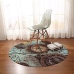 Compass Earth Map Vintage Round Rug Home Decor