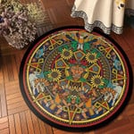 King Traditional Vintage Watercolor Round Rug Home Decor
