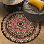 Cool Brown Red Round Modern Moroccan Round Rug Home Decor