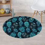 Blue Sugar Skull Scary Character Round Rug Home Decor