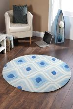 Gold Collection Geometric Blue Round Rug Home Decor