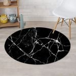 Black And White Cracked Marble Round Rug Home Decor