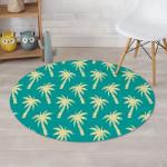 Green Palm Tree Hawaiin Design Round Rug Home Decor