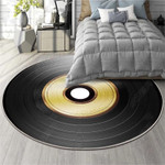 Black And Yellow Circle Disc Pattern Round Rug Home Decor