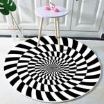 White Black Twisted Optical Illusions Round Rug Home Decor