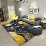 Blue Yellow Round Pattern Area Rug Home Decor