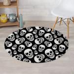 Black Theme White Skull Pattern Round Rug Home Decor