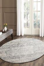 Evoke Dream White Silver Transitional Round Rug Home Decor