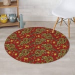 Golden Chinese Dragon Floral Design Round Rug Home Decor
