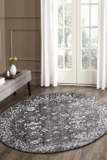Evoke Estella Charcoal Transitional Round Rug Home Decor