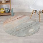 Grey Marble Design Round Rug Home Decor
