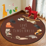 Cat Modern Brown Animals Watercolor Round Rug Home Decor