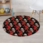 Black Background Brilliant Red Rose And Skull Round Rug Home Decor