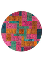 Colorful With Persian Hand Knotted Patchwork Round Rug Home Decor