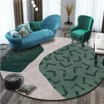 Green Color Blocks Pattern Round Rug Home Decor