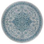 Blue Vintage Floral Round Rug Home Decor
