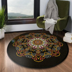 Circled Pretty Flower Watercolor Round Rug Home Decor