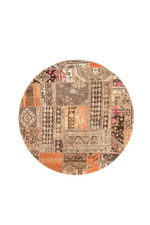 Plaid Persian Hand Knotted Patchwork Round Rug Home Decor