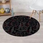 Chiromancy Symbol Gothic Witch Weird Pattern Black Theme Round Rug Home Decor