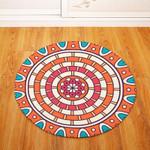 Adorable Orange Geometric Round Rug Home Decor