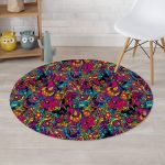 Tribal Hippie Trippy Colorful Style Round Rug Home Decor