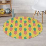 Pink Pineapple Yellow Theme Round Rug Home Decor