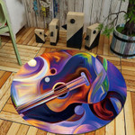 Guitar Abstract Modern Watercolor Round Rug Home Decor
