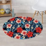 Tropical Hibiscus Flower Blue Leave Round Rug Home Decor