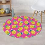 Pink Theme Cute Pineapple Cartoon Round Rug Home Decor