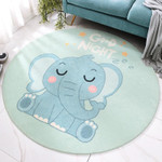 Blue Elephant Shaggy Ornamental Background Round Rug Home Decor