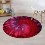 Dark Red Tie Dye Beautiful Design Round Rug Home Decor
