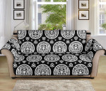 Hand Drawn Calendar Aztec White Black Pattern Sofa Couch Protector Cover