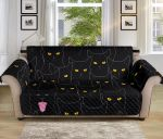 Black Cat Yellow Eyes Themed Pattern Sofa Couch Protector Cover