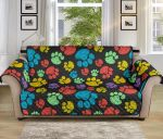 Colorful Dog Paws Black Theme Sofa Couch Protector Cover