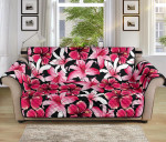 Flower Hawaiian Pink Red Hibiscus Flower Pattern Sofa Couch Protector Cover